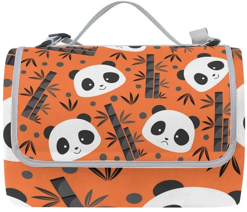 Florence Panda Head Bamboo Pattern Picnic Blanket Foldable Outdoor Mat Waterproof Rug for Camping Portable Picnic Mats