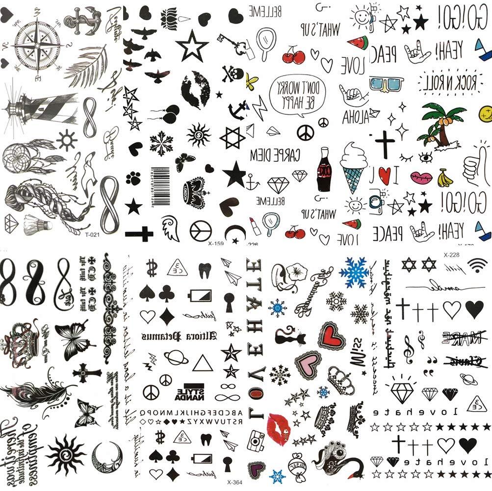 COKTAK 8 Pieces/Lot Small Sexy Lips Leaf Black Cartoon Temporary Tattoo For Kids Cute Star Children Tattoo Sticker Infinity Love Women Body Finger Art Waterproof Tatoos Girls Diamonds