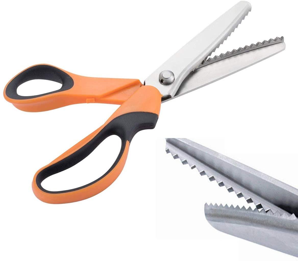 JISTL Professional Stainless Steel Dressmaking Sewing Craft Scissors, 9.3 inches Handled Pinking Shears (Orange)