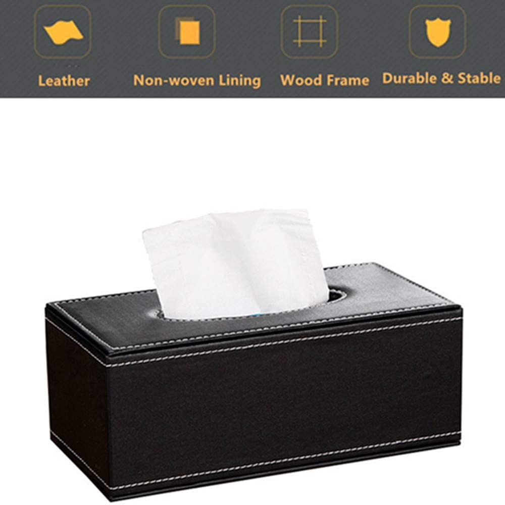 Xiao Lai Tissue Box Cover, Modern Rectangular PU Leather Facial Tissue Box Holder for Home, Office, Bathroom, Car Automotive Decoration