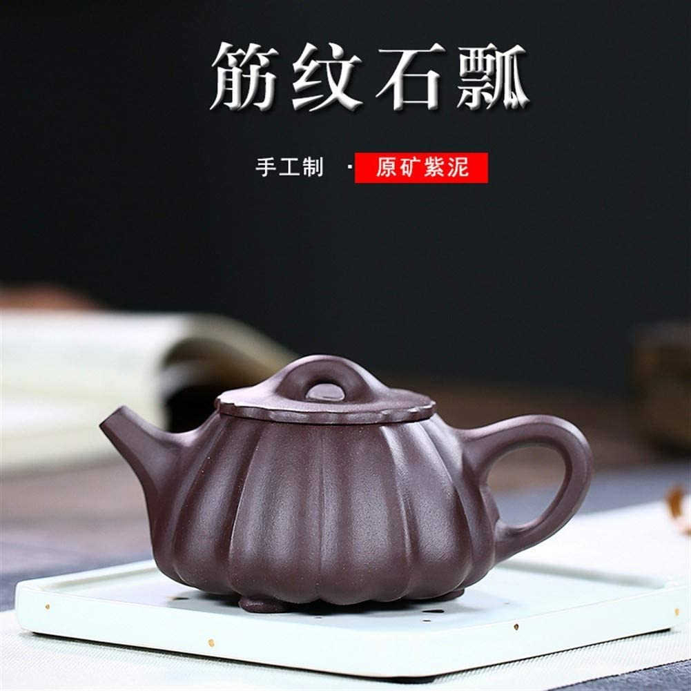 SHENLIJUAN purple clay teapot ore tendons proluta hand-scoop kung fu tea gift (Color : Purple mud)