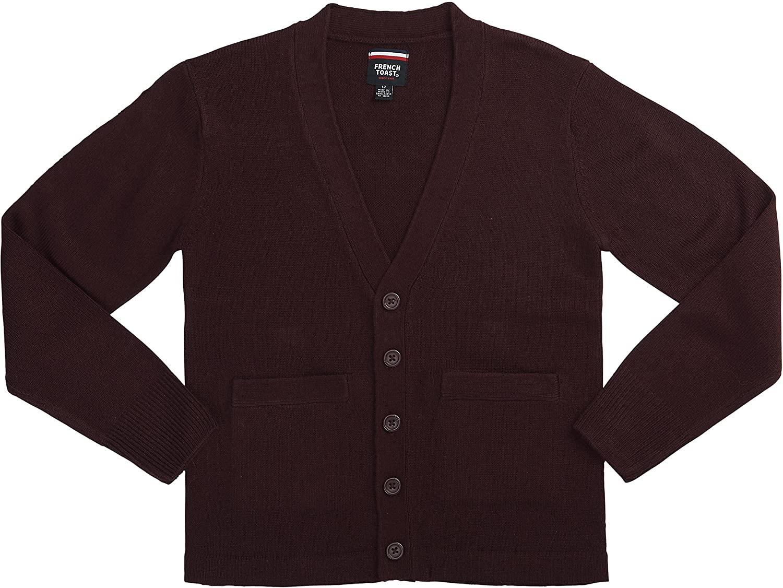 French Toast School Uniform Boys Anti-Pill V-Neck Cardigan Sweater, Burgundy, Small (6/7)