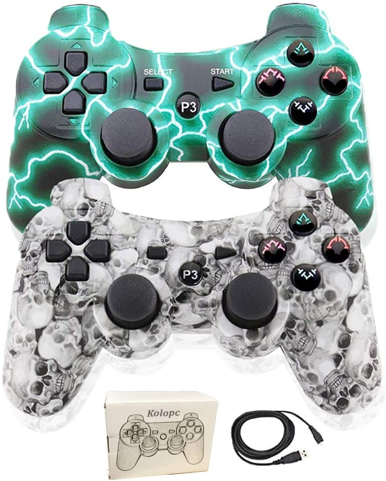 PS3 Controller Wireless for Playstation 3 Dual shock (Pack of 2, WhiteSkull and GreenFlash)