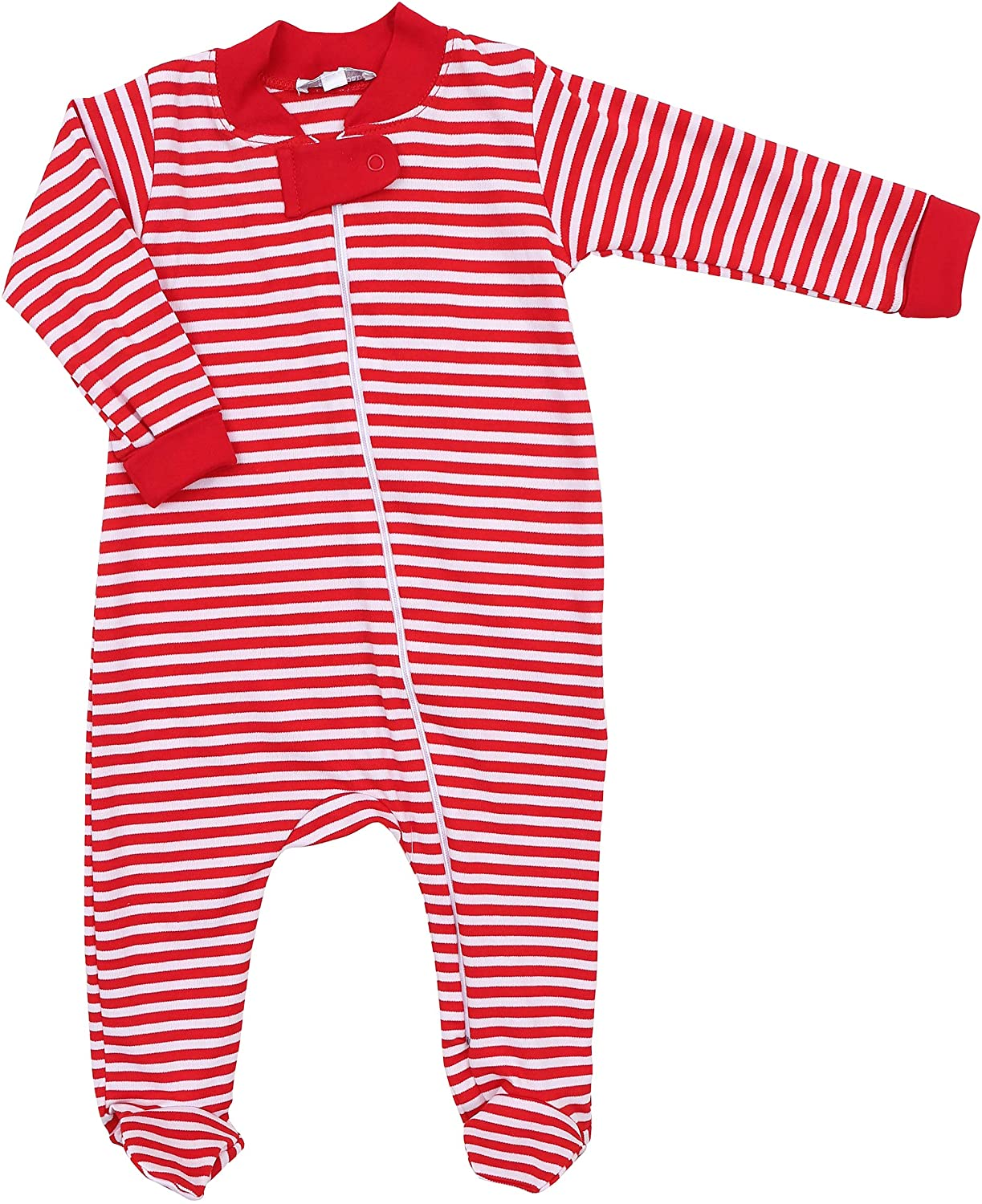Magnolia Baby Unisex Baby Fall Striped Essentials Zipped Footie Red