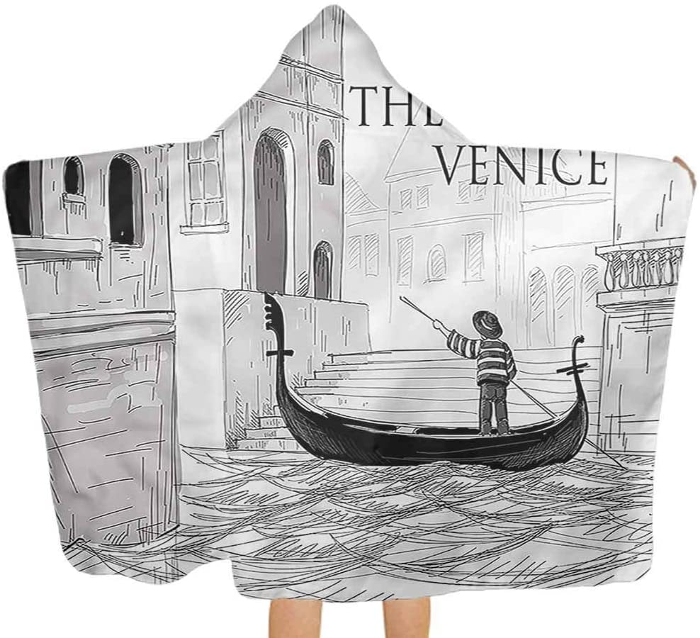 Carmaxs Venice Comfy Hooded Blanket Canals Child Gondolier Boy Girl Ultra Breathable and Soft for All Seasons 32 x 50 Inch Child Holiday Shower Gifts