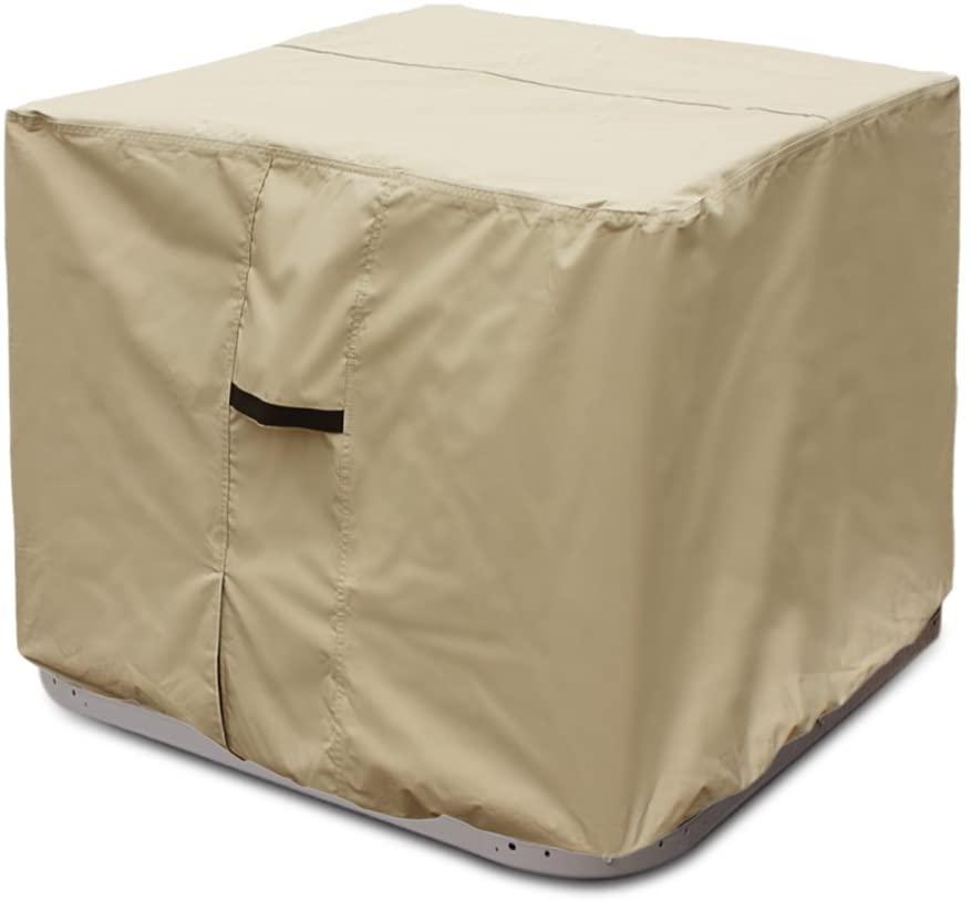 Porch Shield Waterproof 600D Heavy Duty Patio Square Air Conditioner Cover 34x34 inch, Tan