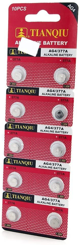 Century Accessory 10 Pack AG4 377 377A LR626 SR66 1.5 Volt Alkaline Button Cell Watch Battery