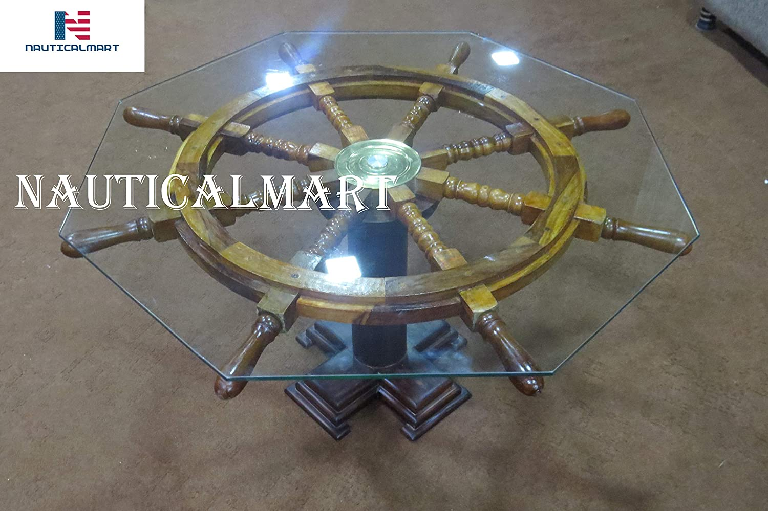 Vintage Ship's Wheel Coffee Table with Glass by NaticalMart