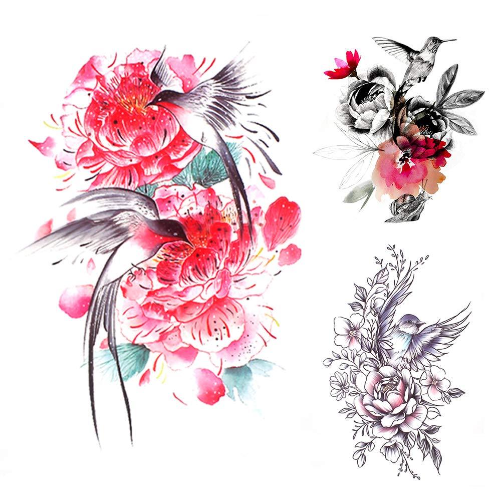 glaryyears 10 Sheets Flower with Birds Temporary Tattoos for Women, Henna Mandala Rose Fake Tattoo Stickers Black Waterproof on Arm Shoulder Hand Wrist Body Art Large Size