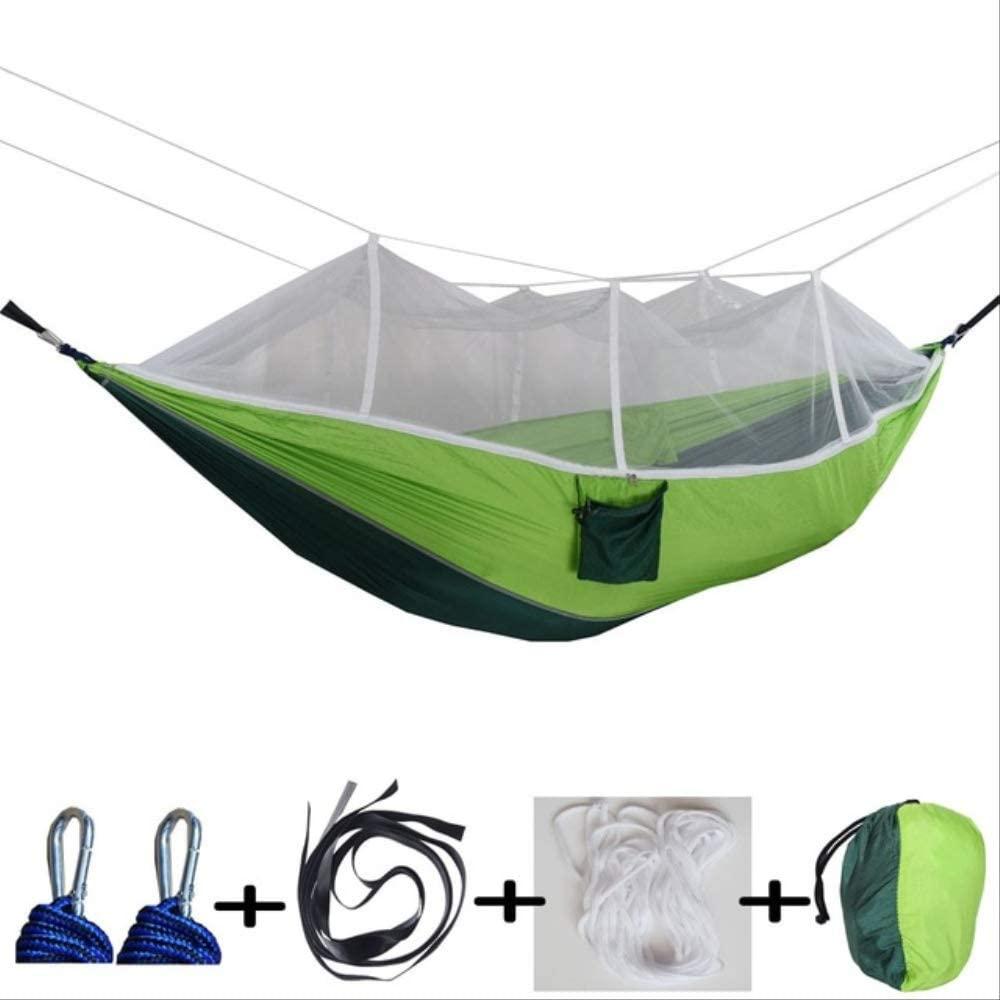 Outdoor Camping Hammock Double Automatic Nnfolding Hammock 260 X 140cm 210t Nylon Material Ultralight Parachute Hammock Dark Fruit Green
