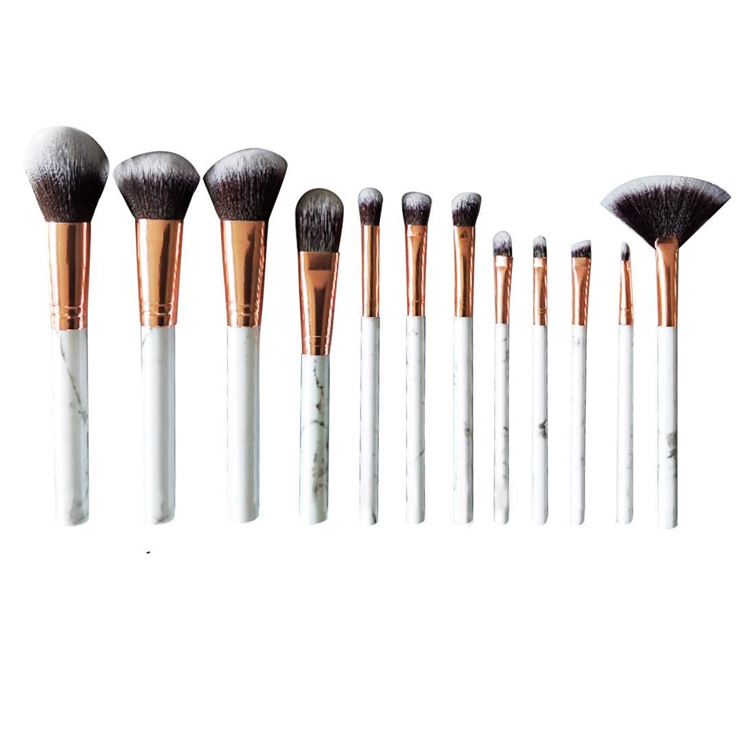 Makeup Brushes Set, yeziwei Professional Marble Face Make Up Brush Sets with Cosmetic Bag Silicone Puff (12Pcs )