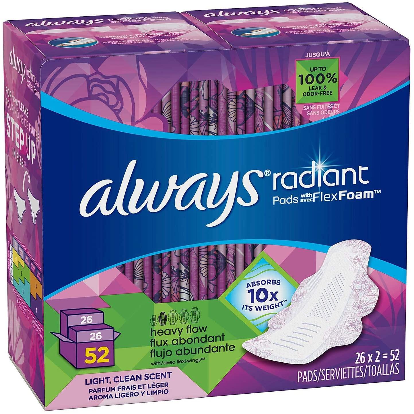 Always Radiant Pads with FlexFoam, Heavy Flow (44ct.) x6 AS