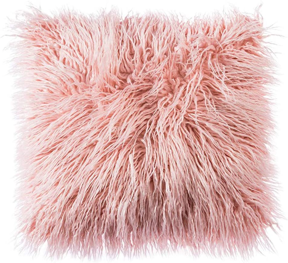 Tiffasea Pink Faux Fur Throw Pillow Cover, Decorative Soft Plush Shaggy Fluffy Deluxe Mongolian Cushion Case for Girls Bedroom Living Room Dorm Home Decor (18 x 18 Inch, Blush Pink)