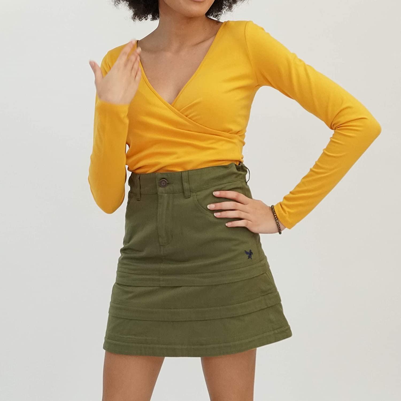 A-Line Skirt Customizable Reversible Pockets Tiered Mini Knee Length Midi Long High Waist Modest School Uniform Casual Zipper Zirts (Olive, Y-Large)