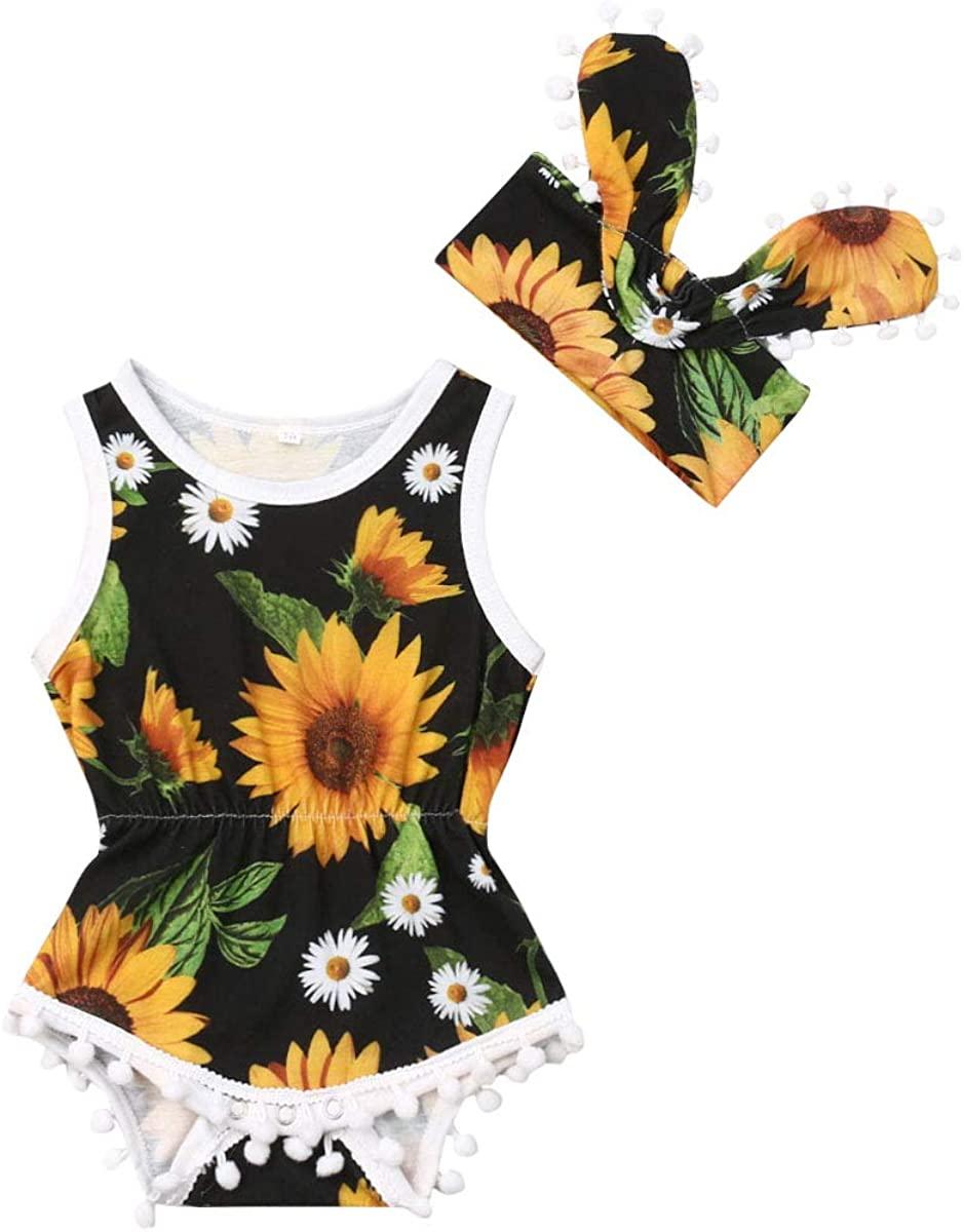 Infant Girls Floral Bodysuit Pompom Tassels Sunflower Sleeveless Bodysuit Jumpsuit + Bownot Headband Summer Outfits