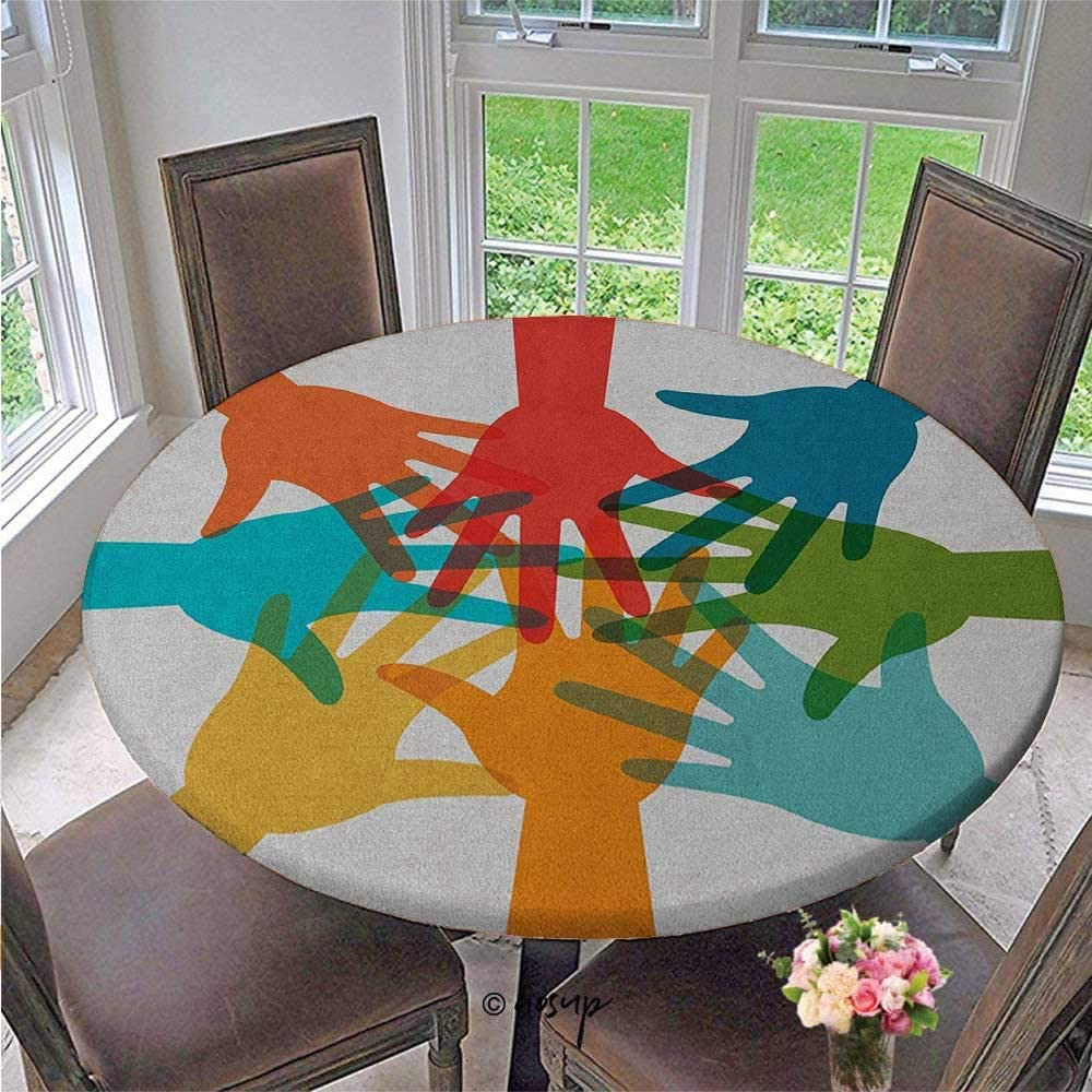 ThinkingPower Round Elastic Table Cloth Community Cooperation Theme Colorful Hands Together Agreement Teamwork Partnership Table Cover Color is Tasteful and Perfect Multicolor Diameter - 79 Inch