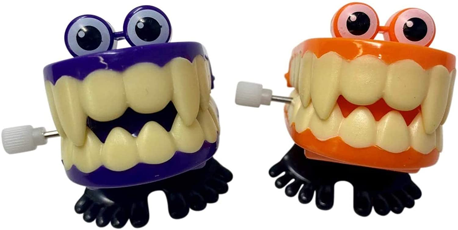 Halloween Mini Wind Up Chattering Teeth with Bulging Eyes, Novelty Toy or Gag Gift for Friend, Pack of 2