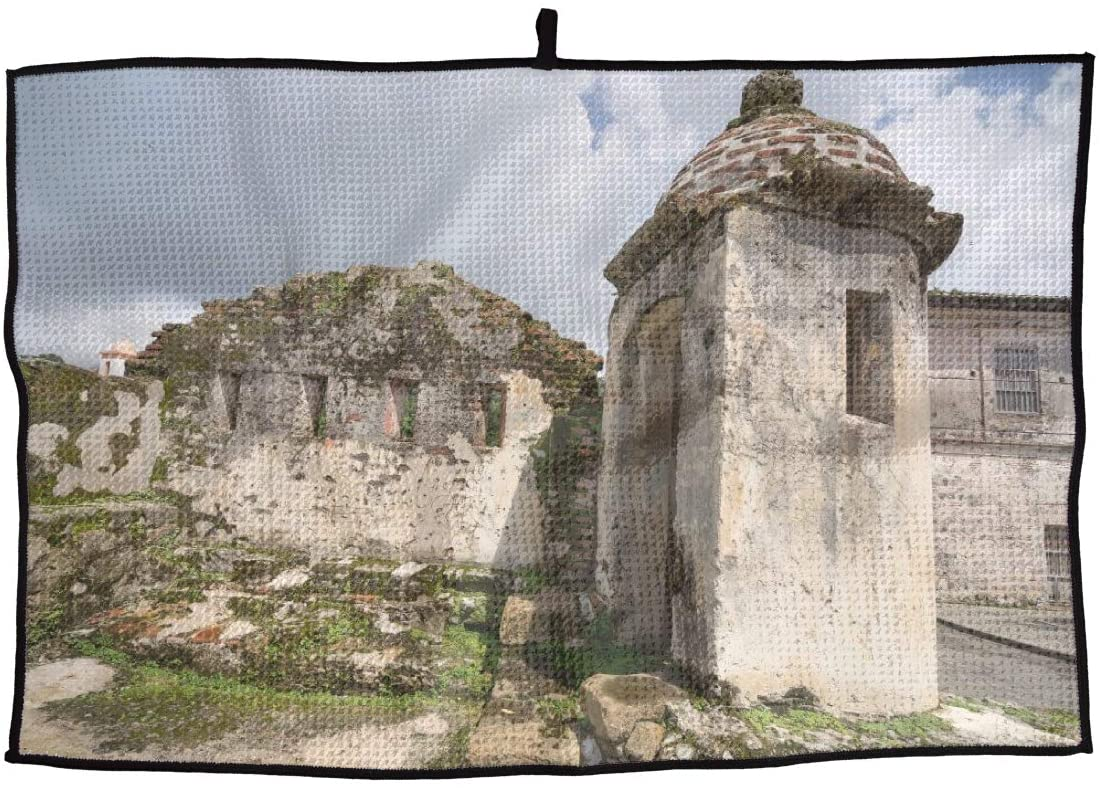 JJCSTE.C Microfiber Golf Towel Colonial Fort Ruins in Panama Sports Gym Towel for Golf, Yoga, Sport, Running, Gym, Workout More Activities
