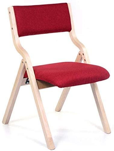 QTQZDD Leisure Chair Dining Chair Desk Chair Backrest Chair Restaurant Creative Wooden Folding Chair Burlap (Color : Red)