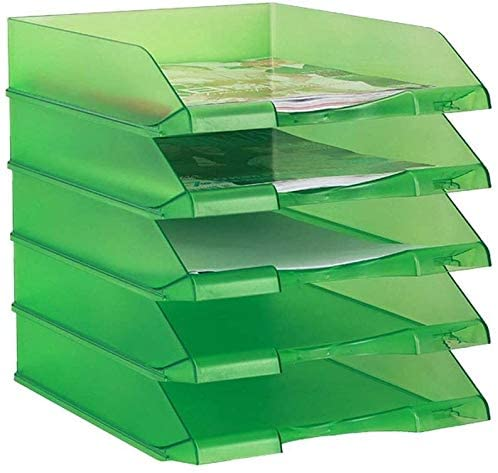 Organizer File Shelf, Five-Layer Combination Storage Rack Creative Plastic Desk Finishing Data Tray Desktop Organizer (Color : Green, Size : 3425.532cm)