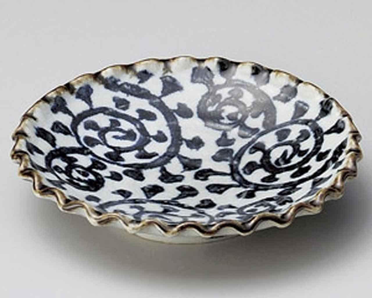 Tako Karakusa 7.9inch Set of 2 Small Plates Grey Ceramic Made in Japan
