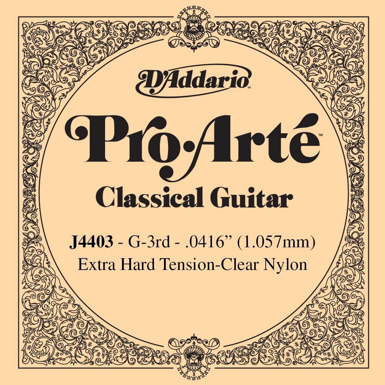 D'Addario J4403 Pro-Arte Nylon Classical Guitar Single String, Extra-Hard Tension, Third String