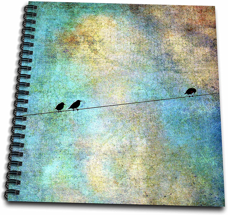 3dRose Cassie Peters Birds - Birds on a Wire Digital Art by Angelandspot - Memory Book 12 x 12 inch (db_164118_2)