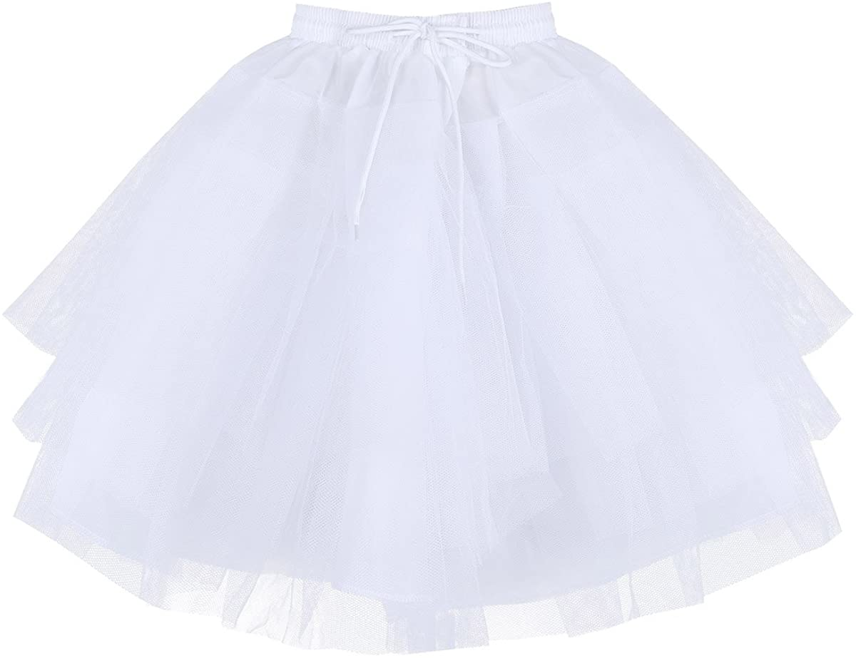 Hularka Kids Girls Ballet Dance Skirts Flower Girls Dress 3 Layers Net Petticoat Wedding Dress Tutu Crinoline Underskirt