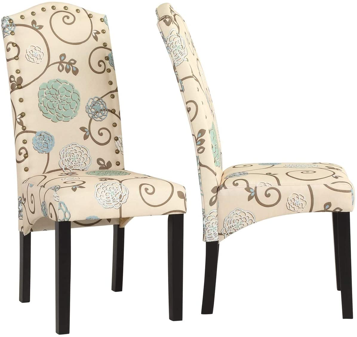 XIAOTIAN Floral Contemporary Dining Chairs,with Sturdy Wood Legs,Beige