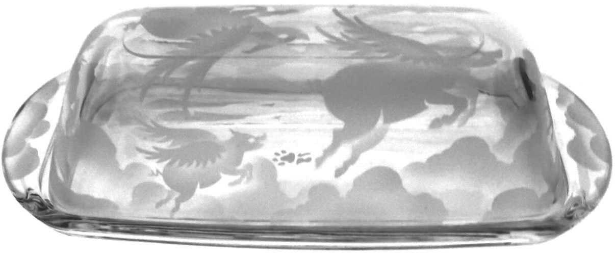 Hand Etched Permanently Sandblasted (Sand Carved) Butter Dish Serving Tray Handmade USA (Pigs Flying Over Clouds)