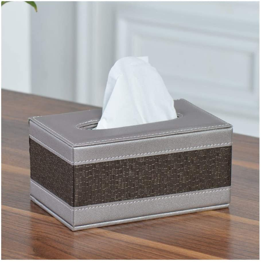 YIBANG-DZSW Leather Tissue Box Rectangular Square Pen Remote Control Storage Box Napkin Holder Dispenser Cover Box (Color : Style B S)