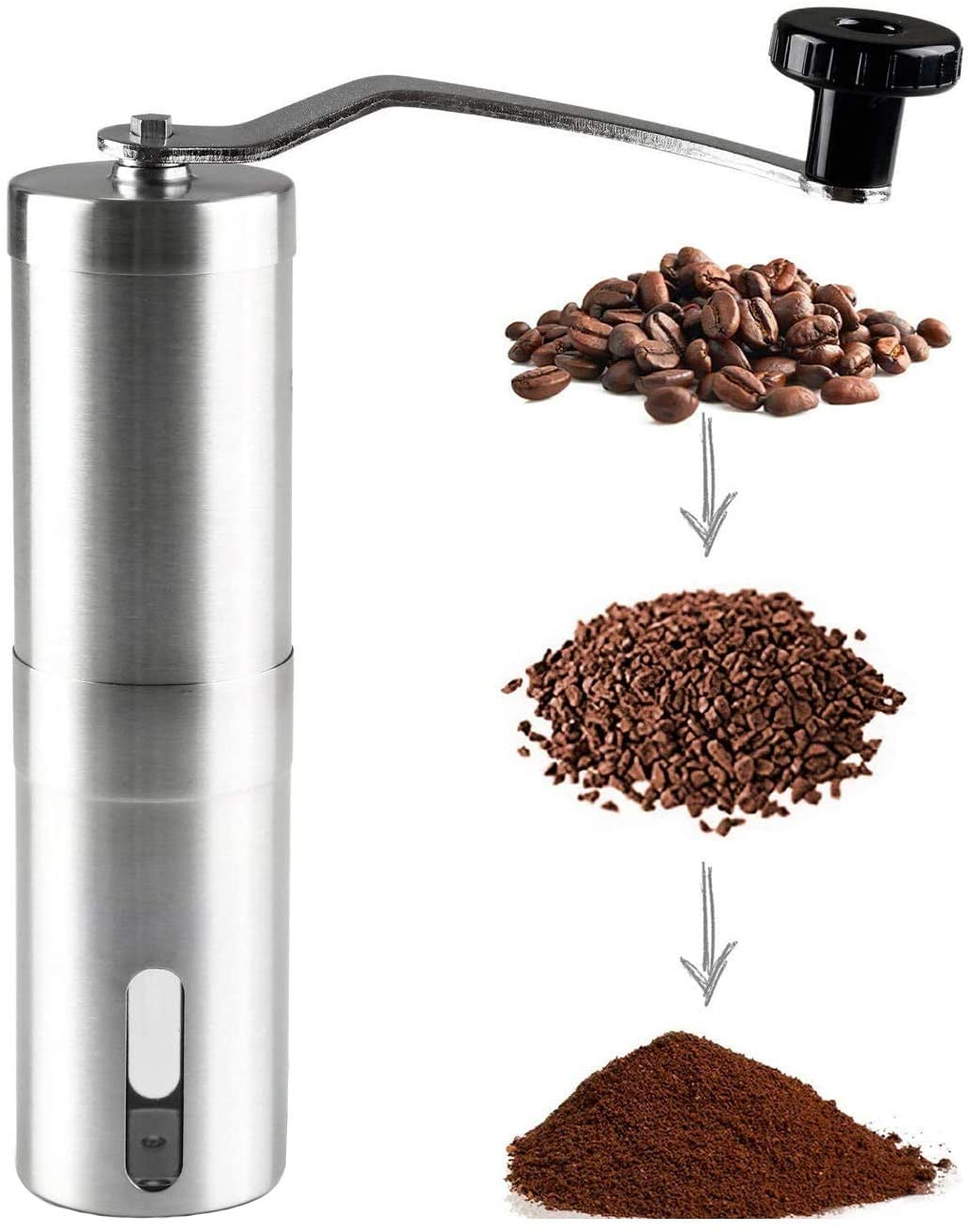 S-Tang Manual Coffee Grinder with Adjustable Setting - Conical Burr Mill & Brushed Stainless Steel Whole Bean Burr Coffee Grinder for Office, Home, Traveling, Camping