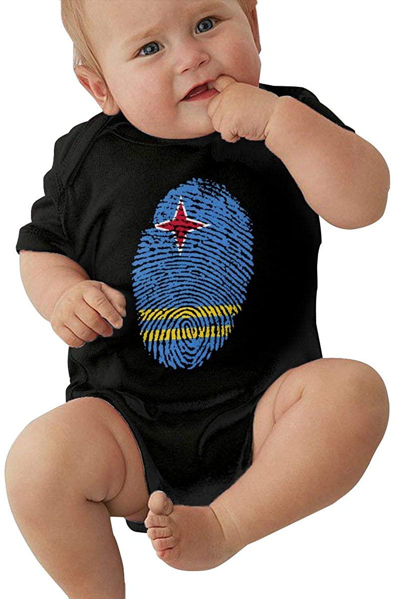 Toddler Aruba Flag Fingerprint Short Sleeve Climbing Clothes Romper Jumpsuit, Suit 6-24 Months