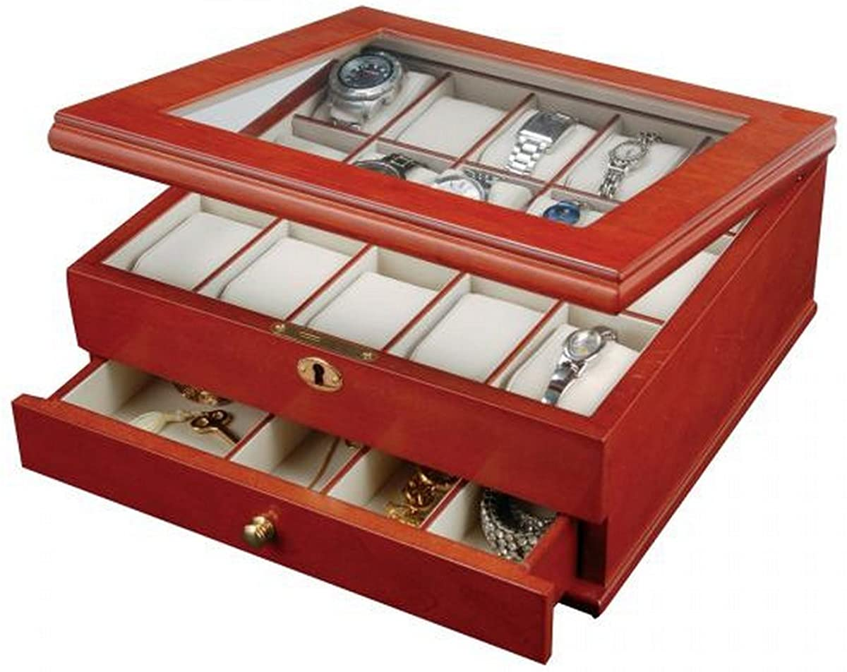 Walnut Finish Locking Wooden Watch Box, Jewelry Case. 15 Removable Cushions. Jewelry Storage Drawer