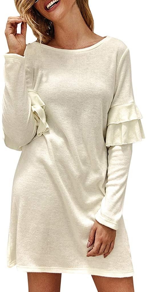 LENXH Ladies Dress Ruffle Dress Fashion Beach Dress Long Sleeve Dress Casual Dress Solid Color Dress