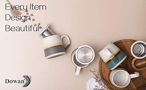 DOWAN 16 OZ Tea Cup with Infuser, 4 Packs Ceramic Mugs