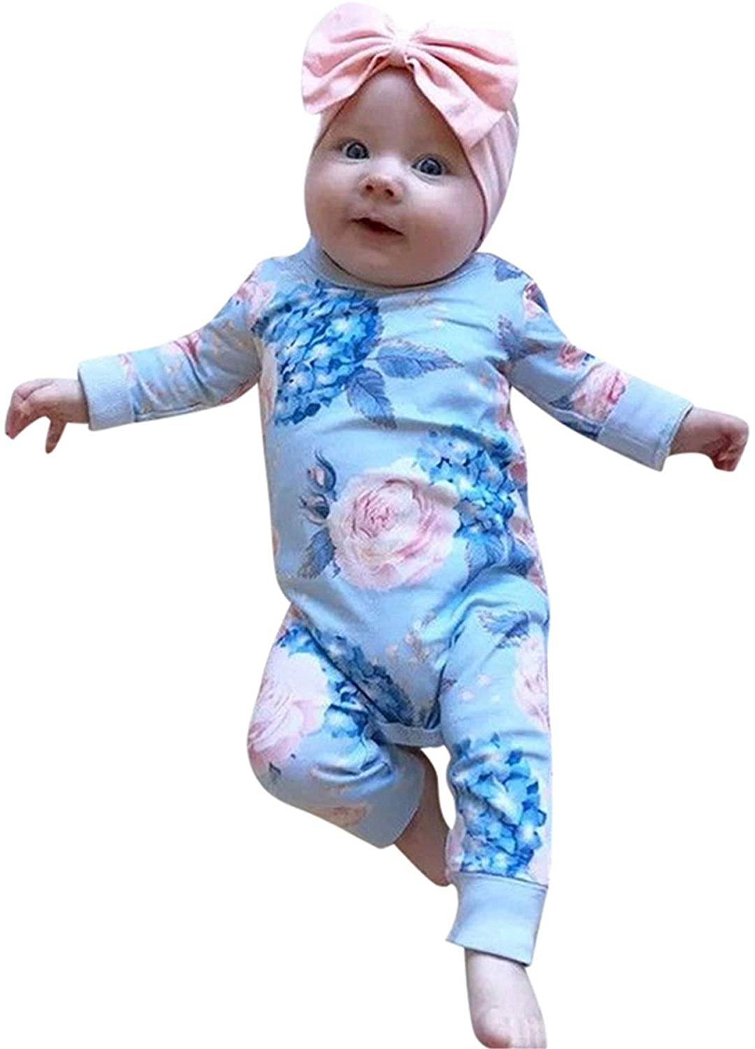 2pcs Toddler Kids Baby Girls Cotton Floral Romper Jumpsuit Bow Hair Band Clothes Sets Long Sleeve Pajamas Outfits