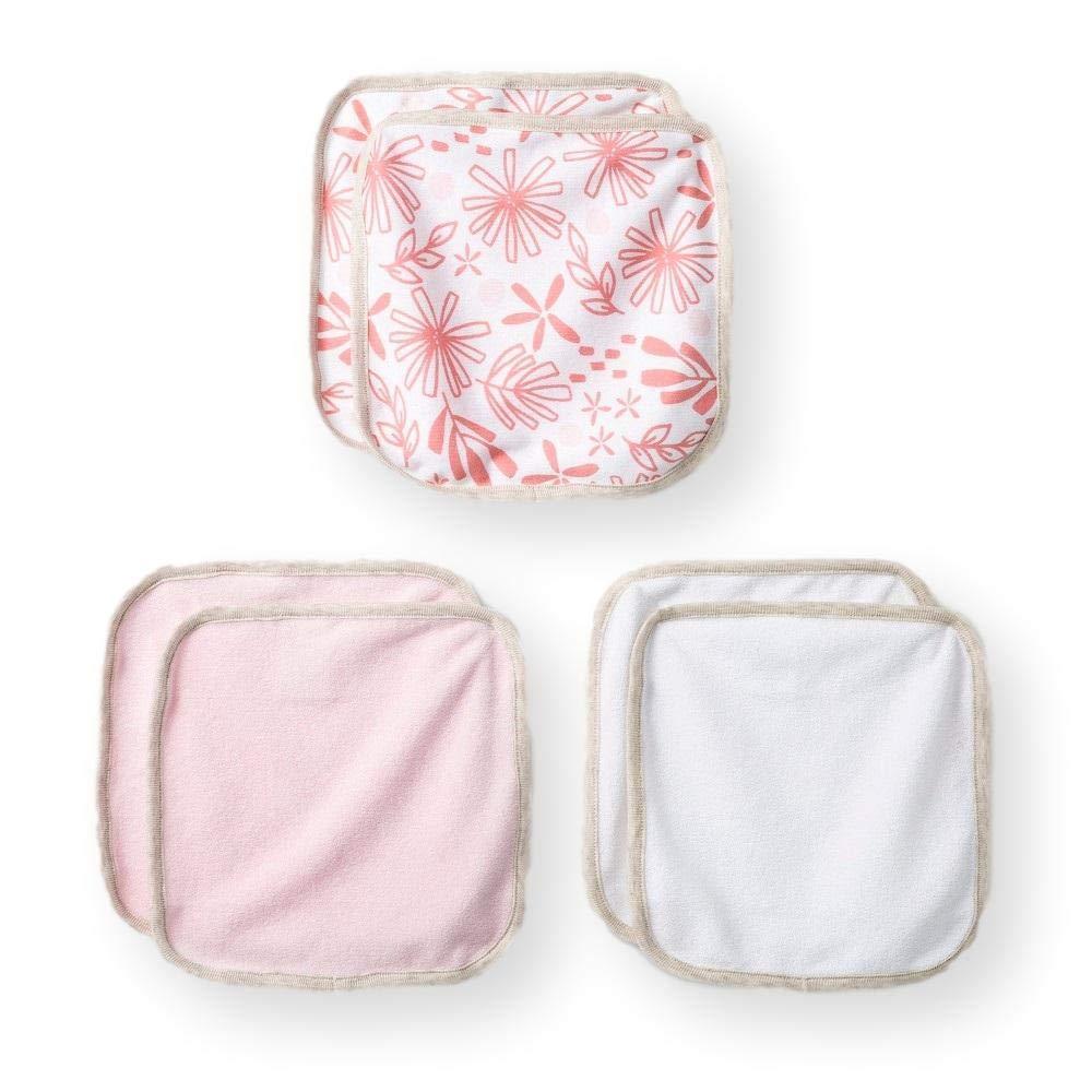 Cloud Island - Infant 6pk Lightweight Washcloths - Moxie Peach & White