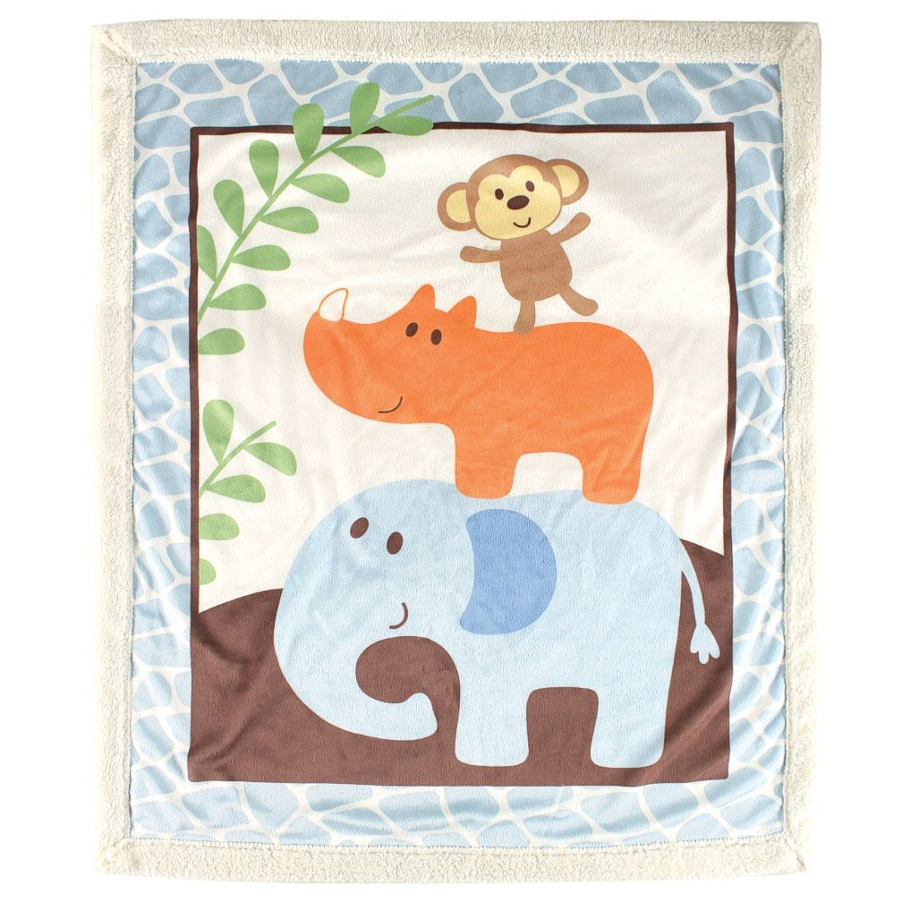 Luvable Friends Unisex Baby Plush Blanket with Sherpa Back, Blue, One Size