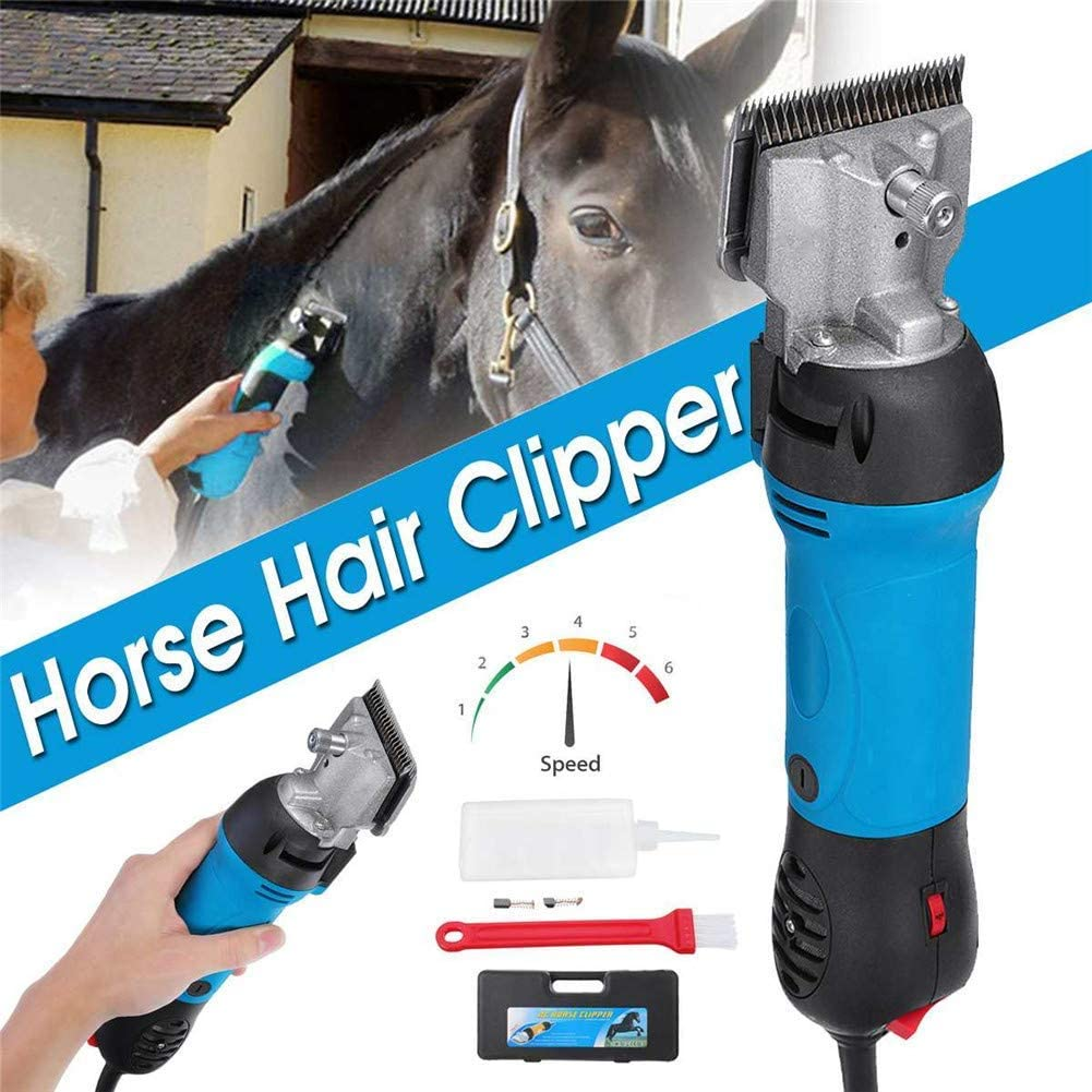 GYQ Professional Electric Horse Hair Clipper, Heavy Duty 690W & 6 Speeds Adjustable Low Vibration Electric Equine Shears, Hair Grooming Trimmer for Pet & Livestock Coats, UK Plug