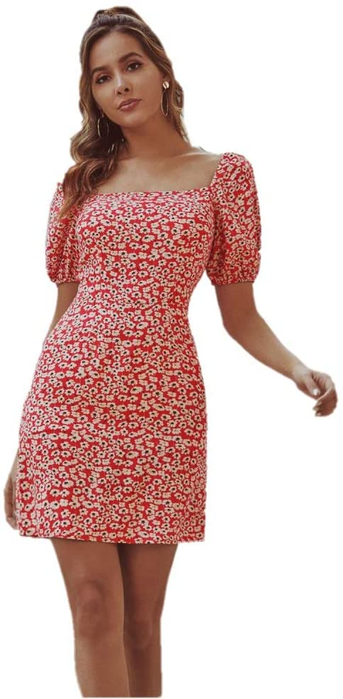 maisi Dress for Ladies Temperament Commuting Retro Short Sleeve Square Collar Puff Sleeve Waist Short Floral Print Dress Red