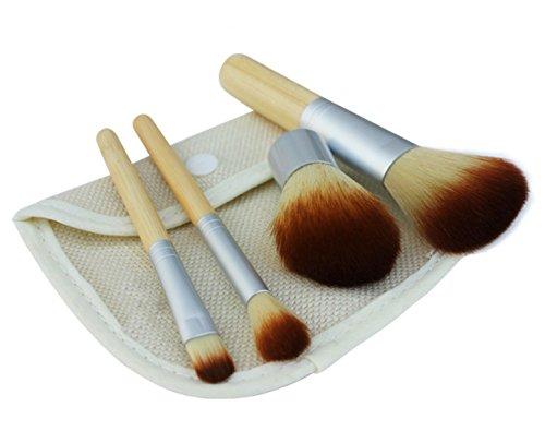 4 Pieces Makeup Brush Set,Beauty Brush set,4 Pieces Professional Bamboo Handle Foundation Blending Blush Eye Face Liquid Powder Cream Cosmetics Brushes & 1 portable bag