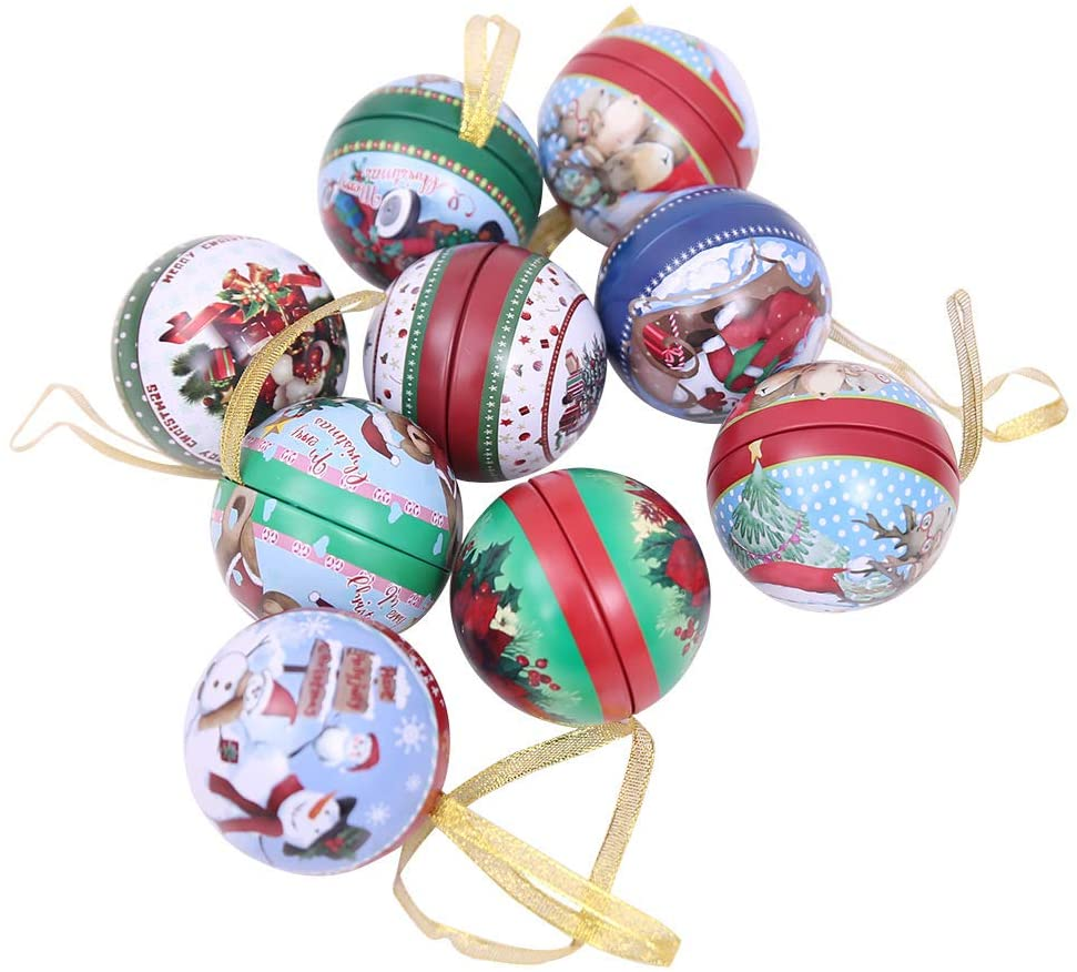 LUCKSTAR 9Pcs Tinplate Round Ball Boxes, Reindeer Santa Tree Hanging Decorations for Show Window,Family Gathering,Office