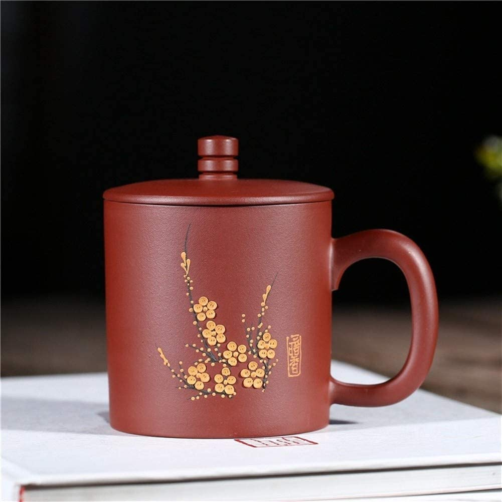 QinMei Zhou Fragrance ore purple purple cup cup 380 ml glass ceramic office (Color : Yellow, Size : Purple mud)
