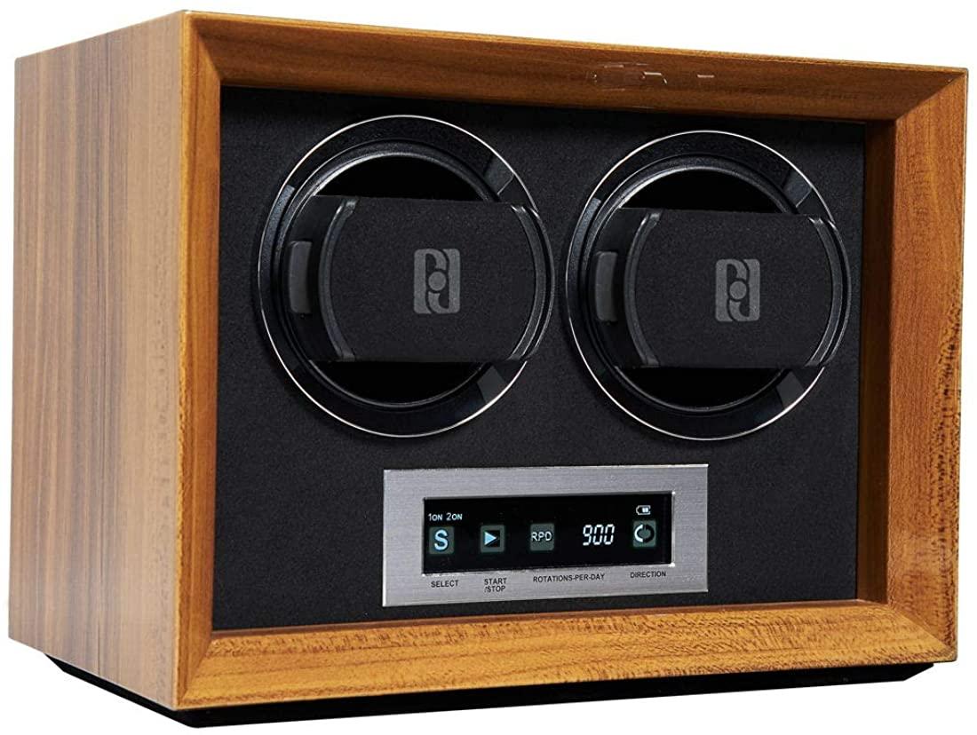 BILLSTONE 2 Watch Winder - in-Safe Series - for 2 Automatic Watches/Black Velvet Interior/Quiet Mabuchi Motor/Easy Set-up/2 Pre-Programmed Modes (Walnut Wood Finish)