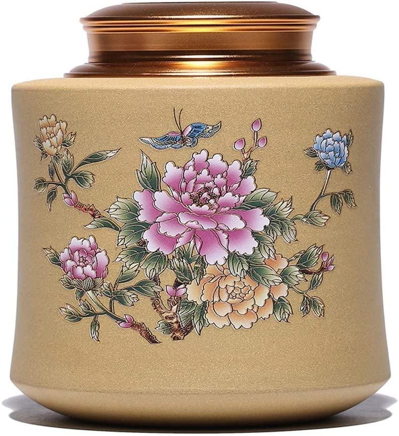 MADONG tea caddy ore segment Exquisite hand-painted clay pots of tea mildew moisture Chaguan (Color : Red)
