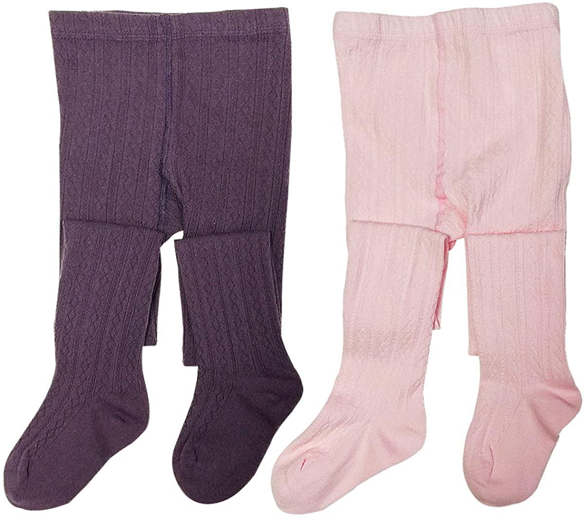 Wrapables Cotton Diamond Weave Knit Tights for Girls (Set of 2)