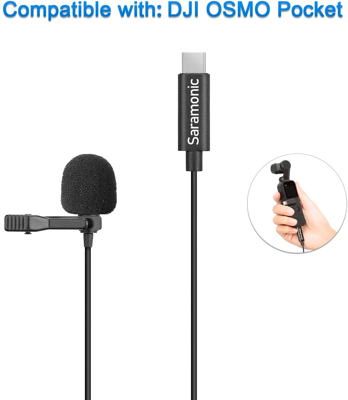 Saramonic LavMicro U3-OP Plug and Play Lavalier Microphone Digital Omnidirectional Clip-on Lapel Mic USB Type-C Plug Compatible with DJI OSMO Pocket Camera for Vlog Film Video Recording