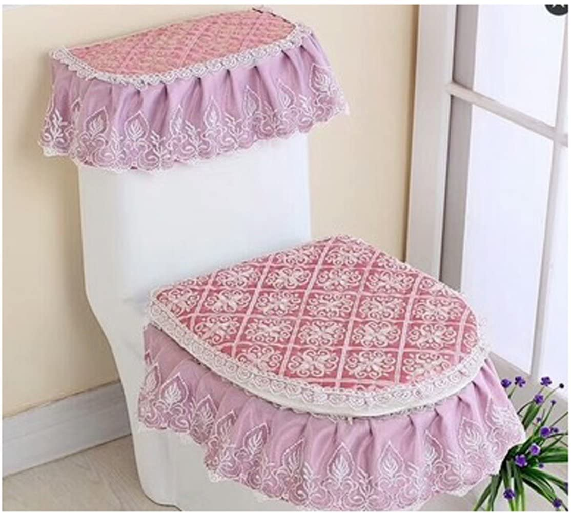 WSHINE Lace Toilet Accessories Tank Cover + Lid Cover + Toilet Seat Cover with Zipper Design