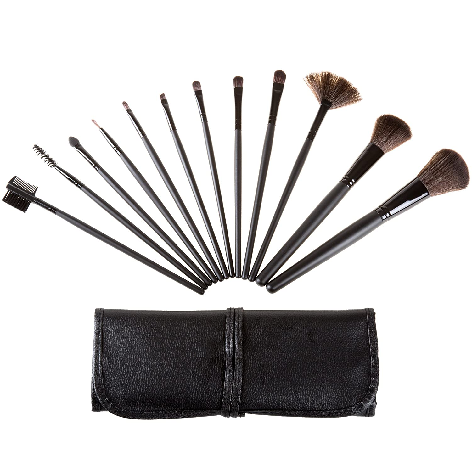 12 Piece Professional Makeup Brush Set- Includes Foundation Eyeshadow Eyeliner Eyebrow Concealer Lip Brushes by Everyday Home- Black